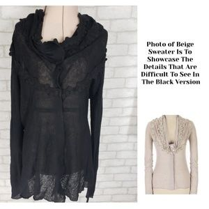 Anthro Knitted & Knotted Black Cardigan Lg